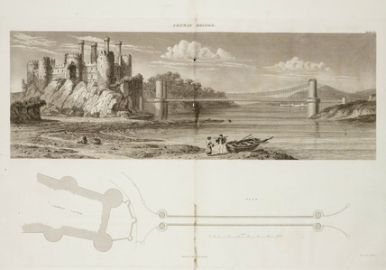 Conwy Castle and Conwy Castle Bridge, North Wales, 1838.