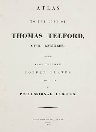 Title page from Thomas Telford's book on his engineering achievements, 1838.