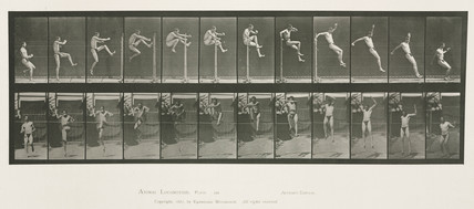 Time-lapse photographs of a man jumping, 1872-1885.