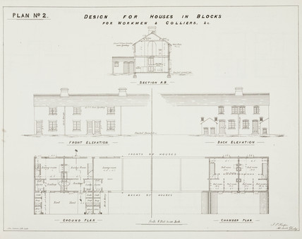 'Design for Houses in Blocks for Workmen & Colliers', 19th century.