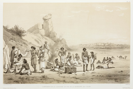 The caravan camped in view of Gabal 'Alba (Mount Elba), Egypt, 1830-1831.
