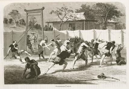 Soldiers fencing, Japan, 1863-1864.