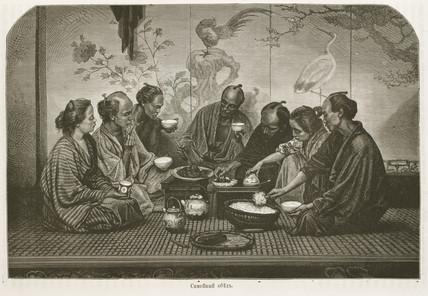A family dinner, Japan, 1863-1864.
