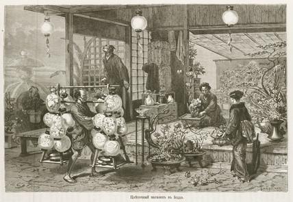 Florist's shop, Japan, 1863-1864.