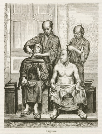 Barbers and their customers, Japan, 1863-1864.