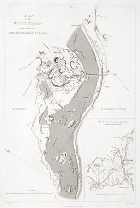 'Map of the Menai Strait at and adjacent to the Suspension Bridge', 1828.