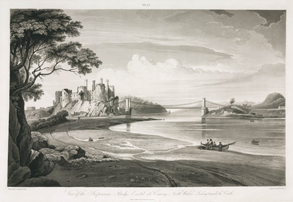 Conwy Castle and Conwy Castle Bridge, North Wales, 1828.