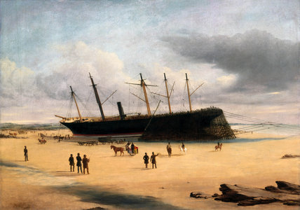 SS 'Great Britain' ashore in Dundrum Bay, Ireland, 1846.