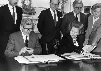 Margaret Thatcher, British politician, c 1980s.