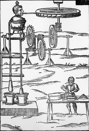 Pestles and mortars operated by a steam jet, c 17th century.