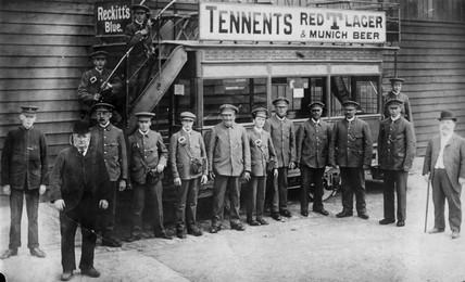 Tram workers, c 1900s.