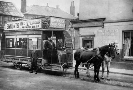 Horse-drawn tram, Hove, Brighton & Hove, late 19th century.