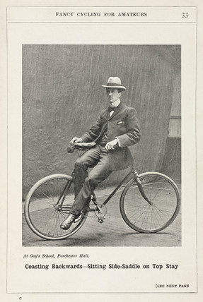 'Coasting Backwards - Sitting Side-saddle on Top Stay', 1901.