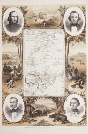 Map of central Africa, with portraits of European explorers, 1854.