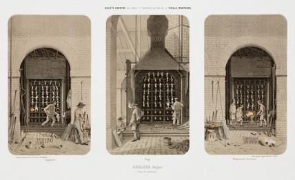 Reduction furnaces, zinc works, Angleur, Belgium, 1855.