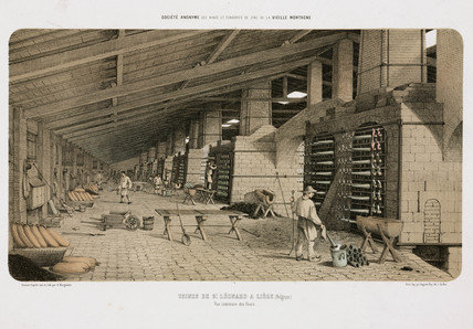 Furnaces at the zinc works, St Leonard, Liege, Belgium, 1855.