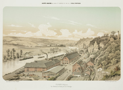 Zinc works, Flone, Belgium, 1855.