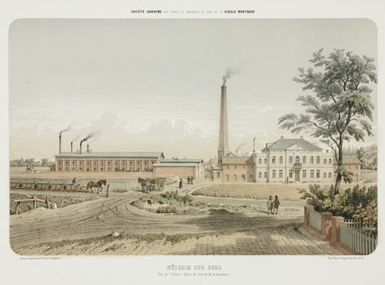 Zinc works at Mulheim an der Ruhr, Germany, 1855.