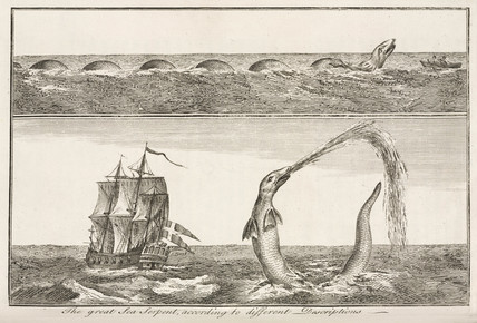 'The great Sea Serpent, according to different Descriptions', 1755.