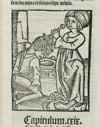 Woman washing lice out of a man's hair, 1497.