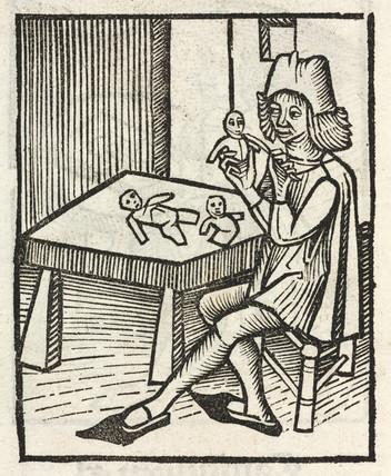 Man making dolls, 1497.