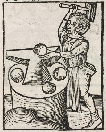 Man hammering iron spheres on anvil, 1497.