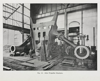 After-propeller brackets of the 'Olympic' White Star liner, 1911.