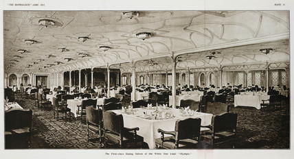 First class dining saloon of the White Star Liner 'Olympic', 1911.