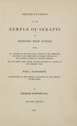 Title page to 'Observations on the Temple of Serapis', 1847.