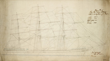 Rigging plan of the 'Euterpe', Isle of Man, 10 October 1872.