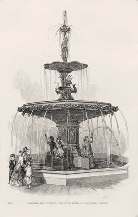 'A bronzed iron fountain cast by M Andrew of Val D'Orne, France', 1851.