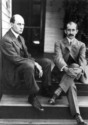 Wilbur (left) and Orville Wright, American aviation pioneers, c 1910.
