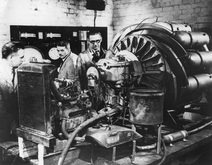 Frank Whittle, G B Bozzoni and H Harvard testing an engine, c 1946.