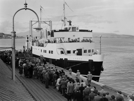 Boarding the 'Arran' at Dunoon, Argyll & Bute, 26 July 1955.