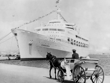 'Canberra' cruise ship docked at Palma, Majorca, 5 November 1976.