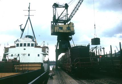 Ships along quay, Rotterdam, Netherlands, July 1962.