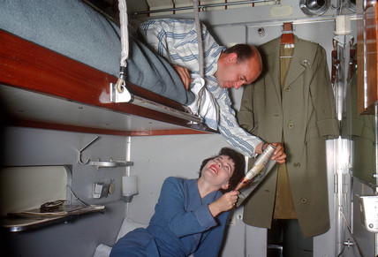 Husband and wife in sleeper carriage, 1962.