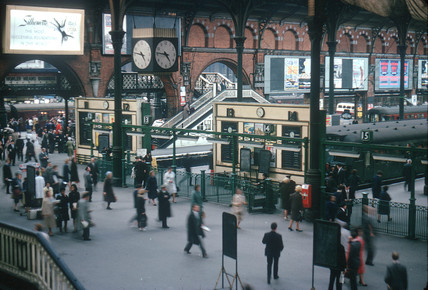 Passengers on the concourse of King's Cross station, London, 1962.