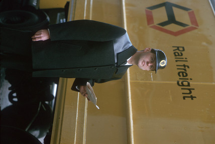 Rail freight employee, April 1964.