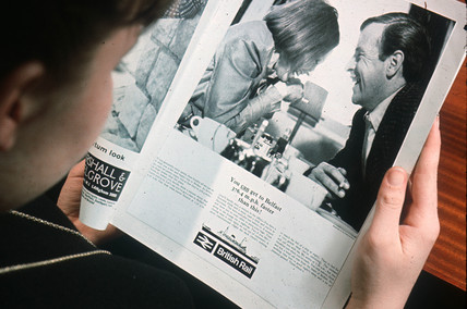 Reading a British Rail press advertisement, April 1964.