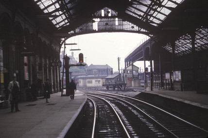 'Up line No 9 platform', Preston station, Lancashire, 1964.