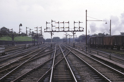 'Up through line Preston No 1 home signal box', Preston, Lancashire, 1964.
