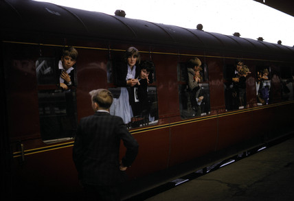 Special excursion train with children at windows, 1964-1965.