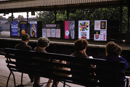 Passengers awaiting train, Balham station, London, 1965.