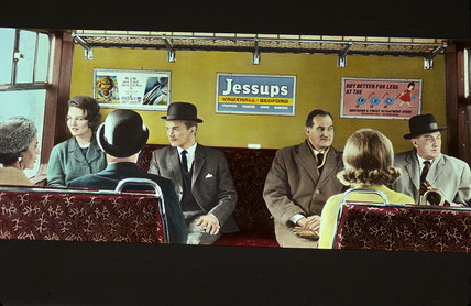 Passengers travelling in British Rail carriage in or near London, 1965.