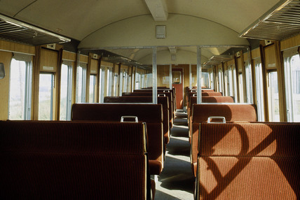 Interior of carriage on British Rail (LMR) electric train service, 1966.