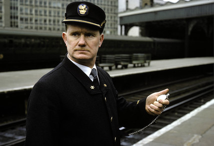 Station Inspector wearing new British Rail uniform, Waterloo, London, 1966.
