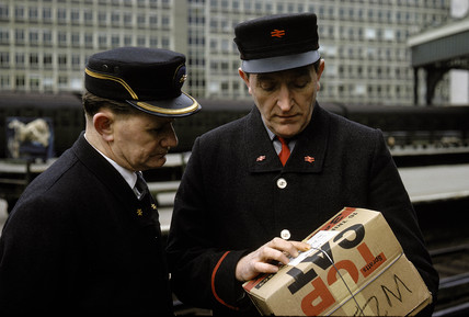 Station Inspector and porter wearing new British Rail uniform, Waterloo, 1966.