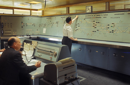 Interior of Willesden Signal Box, December 1966.
