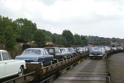 Motor cars being transported by rail, Chiltern Green, Bedfordshire, 1965.